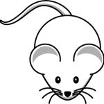 cute, adorable cartoon white mouse with big eyes