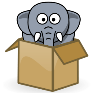 Elephant in a box mascot of hathix.com