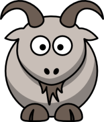 A cute goat cartoon with big eyes