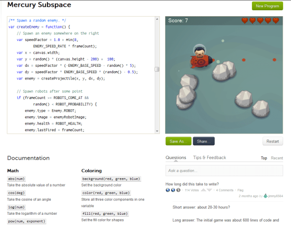 A sample game on Khan Academy's computer science department.