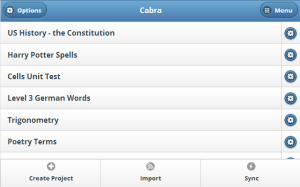 A screenshot of Cabra mobile. It's designed to look and work great on phones, tablets, and computers.