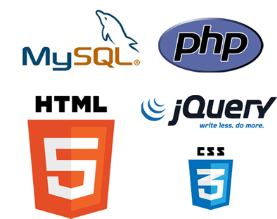 Graphic of MySQL, PHP, HTML5, CSS3, jQuery