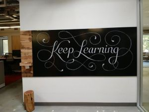Keep Learning wall at Khan Academy