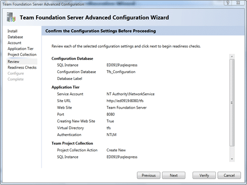 Team Foundation Server Configuration - Advanced - Review