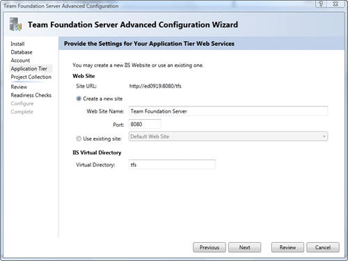 Team Foundation Server Configuration - Advanced - Application Tier