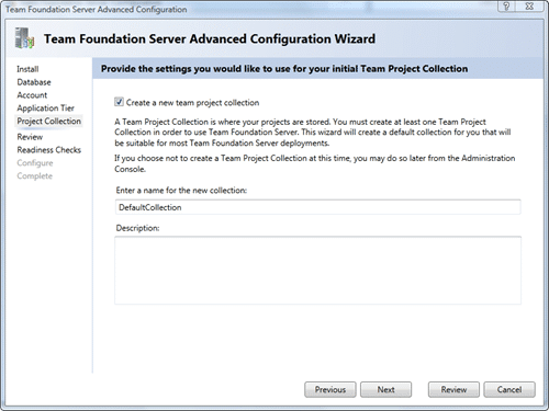 Team Foundation Server Configuration - Advanced - Project Collection
