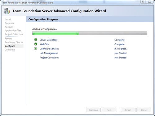 Team Foundation Server Configuration - Advanced - Configure after 40 seconds