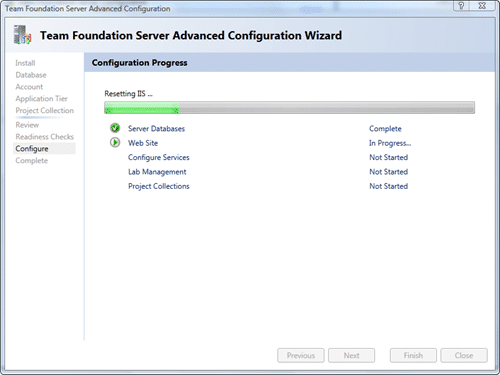 Team Foundation Server Configuration - Advanced - Configure after 20 seconds