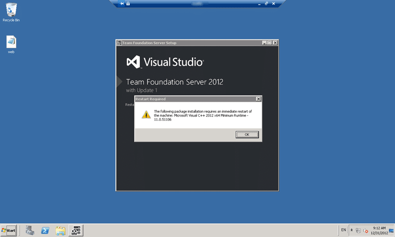 You may be asked to reboot a bunch for Team Foundation Server 2012 Update 1