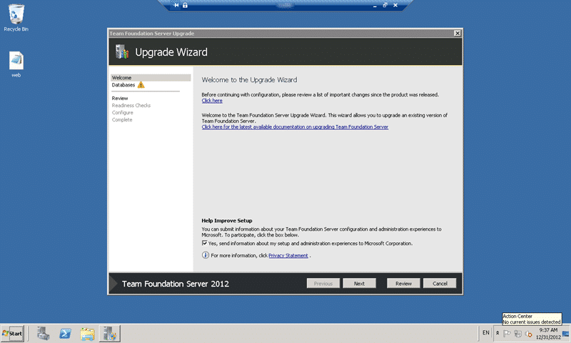 Team Foundation Server 2012 Update 1 Upgrade Wizard