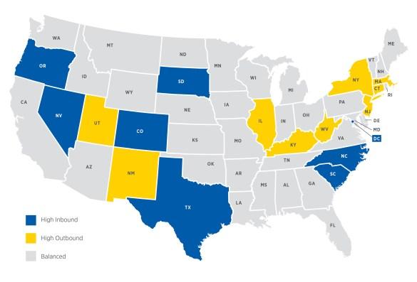 Screenshot of United Van Lines' 2013 Migration Map