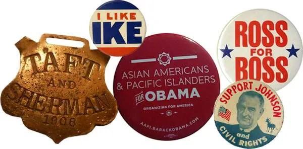 political buttons taft eisenhower obama perot johnson