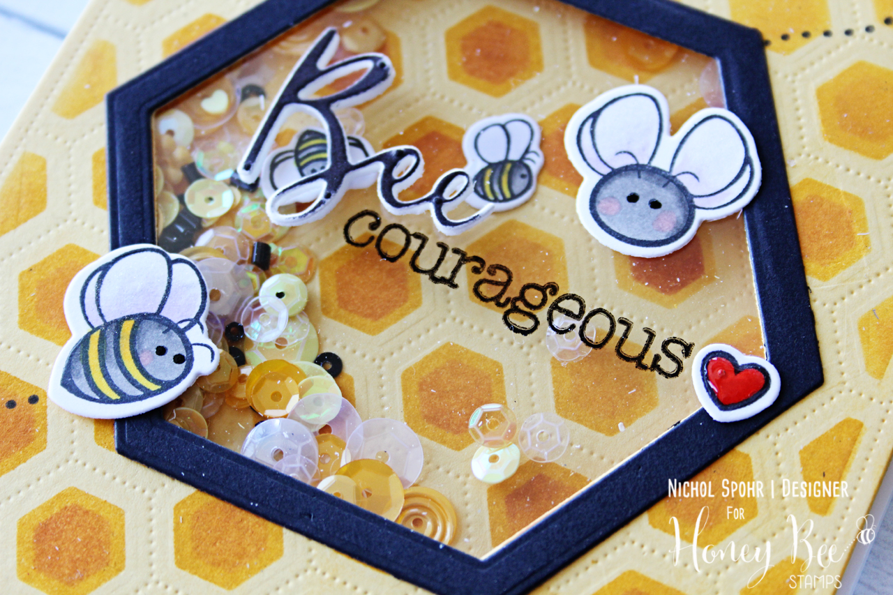 BEE Courageous Hexagon Shaker Encouragement Card