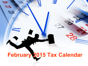 Monthly Tax Filing Dates