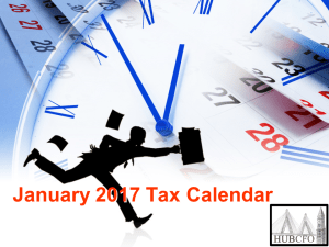 January 2017 Tax Calendar; Excerpts & Highlights