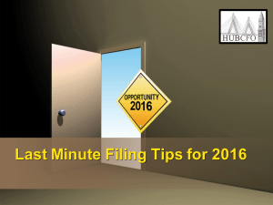 Last Minute Filing Tips for 2016