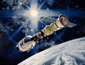 The historic Apollo-Soyuz docking. Image by NASA [public domain]