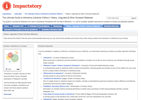 "Screenshot of the ""Ultimate Guide to Altmetrics (Librarian Edition)"" libguide page"