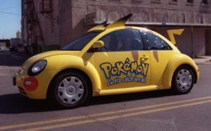 Ten Volkswagen Beetles customized to look like the Pokemon character Pikachu will tour the U.S. to promote the Pokemon products after Nintendo debuts the products in Topeka on Thursday.