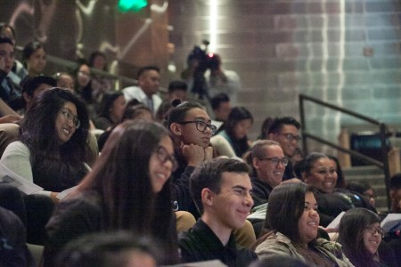 Los Angeles students participating live in the National Youth Summit panel discussion. All photos by Tracy Kumono.