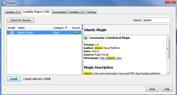 jelastic plugin in repository
