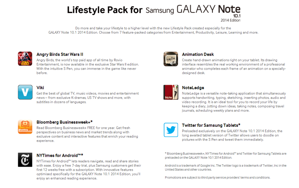 AnimationDesk and NoteLedge is recommended by Samsung