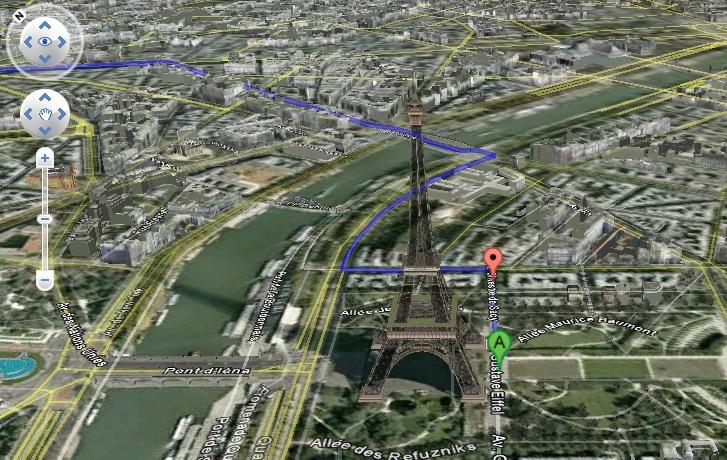Itinéraire 3D avec la fonction survol de Google Map au départ de la Tour Eiffel