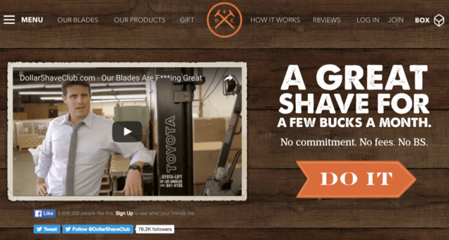 dollar shave club homepage with video