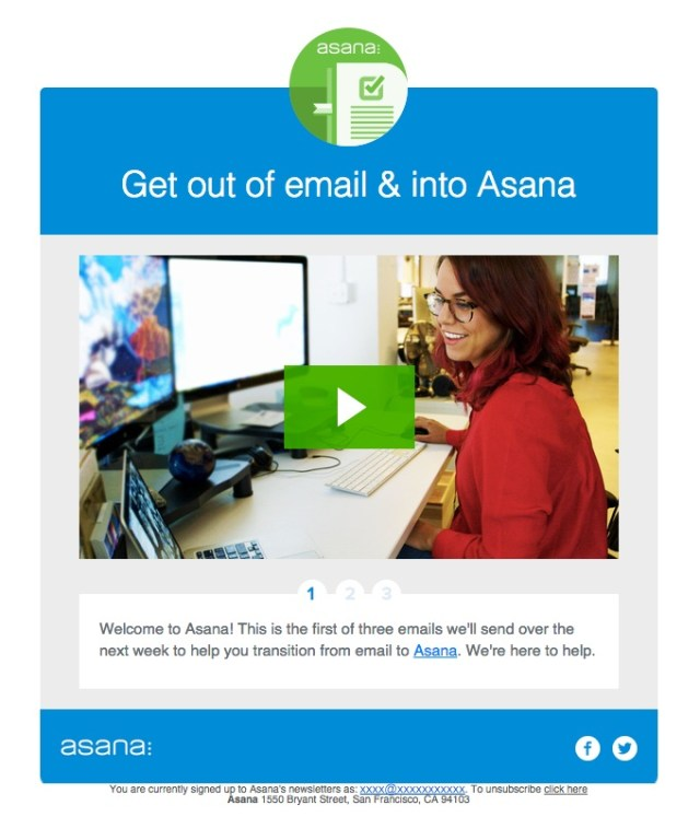 asana new user onboarding email series