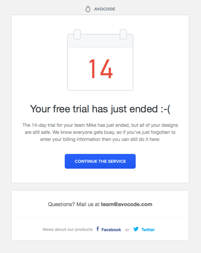 trial ended behaviorally triggered email