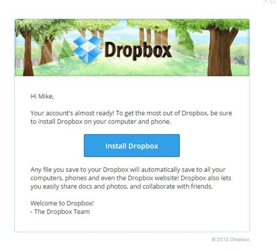 dropbox onboarding email