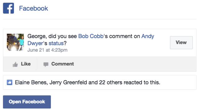 Facebook someone commented on someone's status email