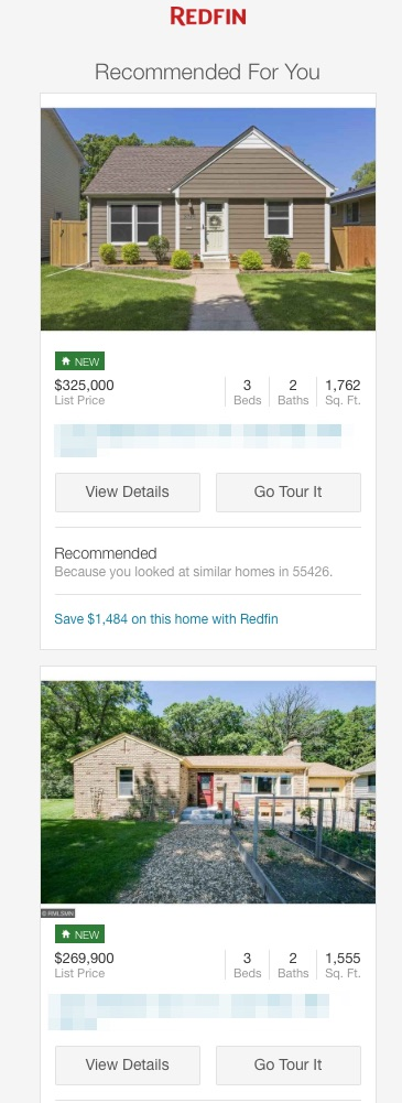 redfin new homes available triggered email