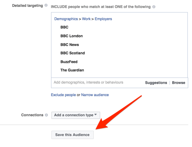 save audience Facebook ad manager