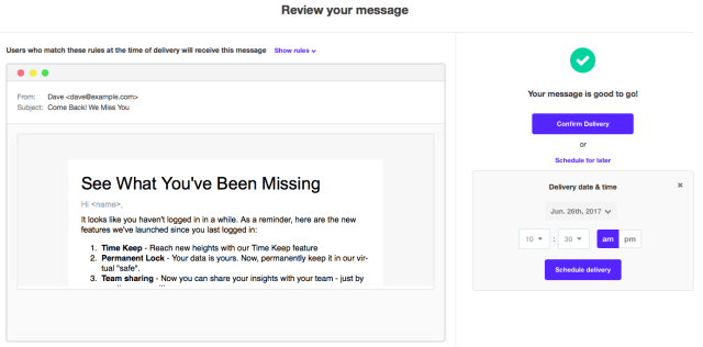 review kissmetrics campaign message before sending