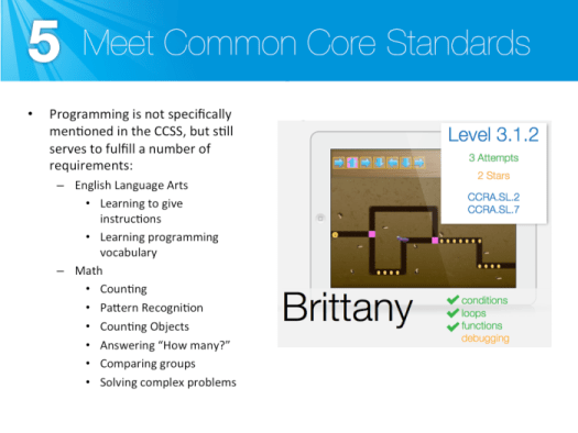 Meet common core standards with programming