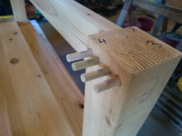 Here are the second set of dowels added into the 4x4 post, note the markings I made with numbers to keep everything organized.