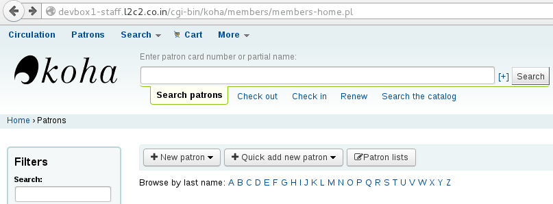 "Select the ""Quick add new patron"" button"