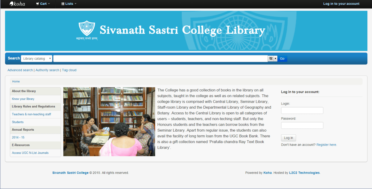 Sivanath Sastri College Library partners with L2C2 Technologies to take their library online