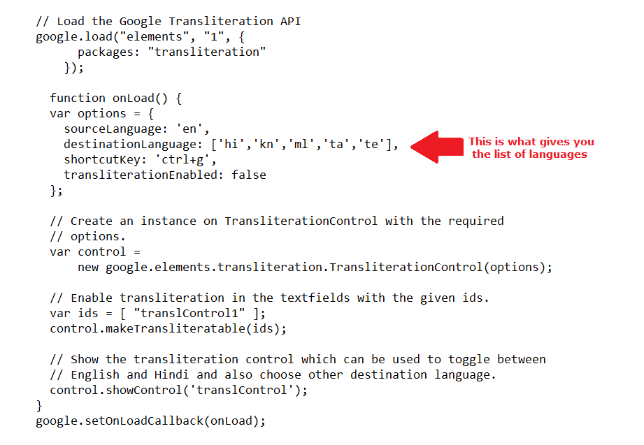 Changing languages in the drop-down for Google Transliterate API