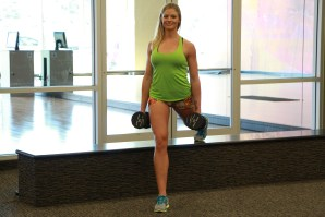Danica doing split lunge with dumbbells to keep Living Healthy (1)