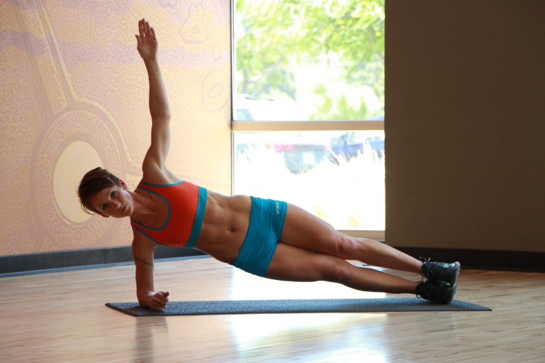 Bethany performing side plank