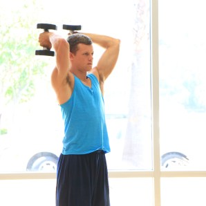 Frank doing dumbbell triceps exercises at LA Fitness (3)