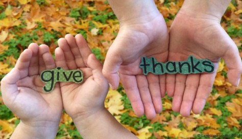 hands holding the words give thanks