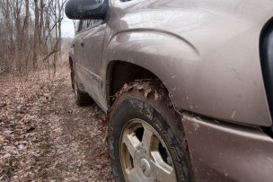 Mud on the tires.