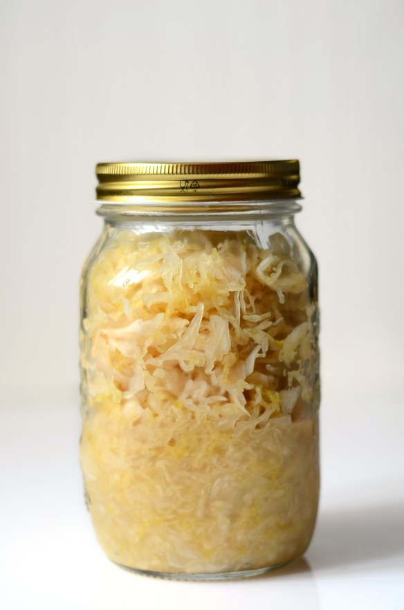 sauerkraut in canning jar