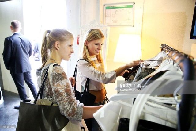 A model is seen backstage ahead of the Fashionyard Meets Platform Fashion show during Platform Fashion July 2015 at Areal Boehler on July 25, 2015 in Duesseldorf, Germany.