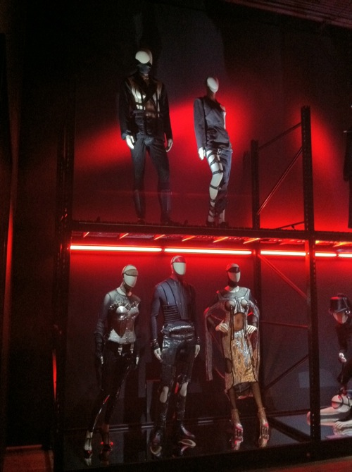Jean Paul Gaultier's leather-inspired designs at the Gaultier exhibit in San Francisco, CA