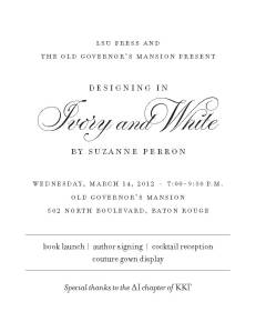 Perron Book Launch, March 14, Old Governor's Mansion, Baton Rouge