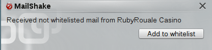 Notification on receipt of a not-whitelisted mail